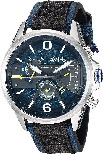 ساعة الطيار للرجال من AVI-8 من الفولاذ المقاوم للصدأ والكوارتز