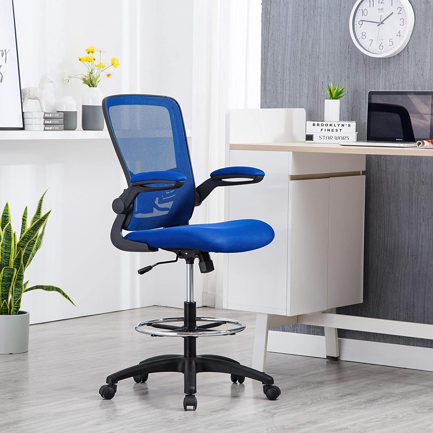 Amazon Com Naomi Home Serena Mesh Drafting Chair Tall Office Chair For Standing Desk Blue Black Furniture Decor