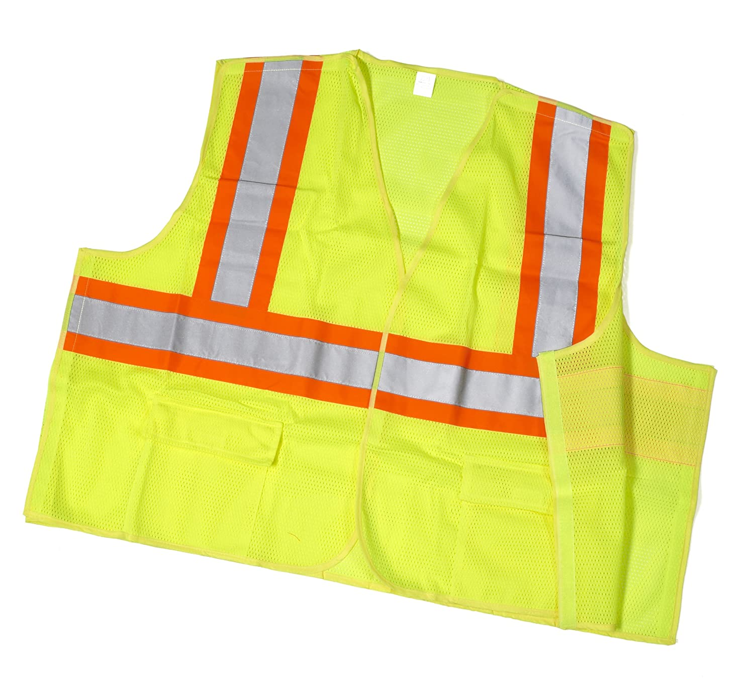 3X-Large Mutual 16386 High Visibility Polyester ANSI Class 2 Mesh Tearaway Safety Vest with Pockets and 4 Orange//Silver//Orange Reflective Tape 16386-0-6 Lime Mutual Industries Inc