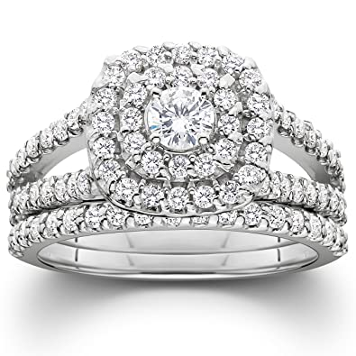 1 110ct cushion halo diamond engagement wedding ring set 10k white gold - Engagement Wedding Ring Sets