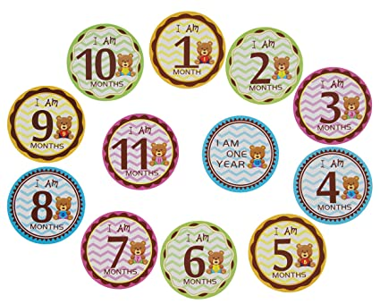 mom me baby monthly stickers 1 12 months for baby boy or baby girl