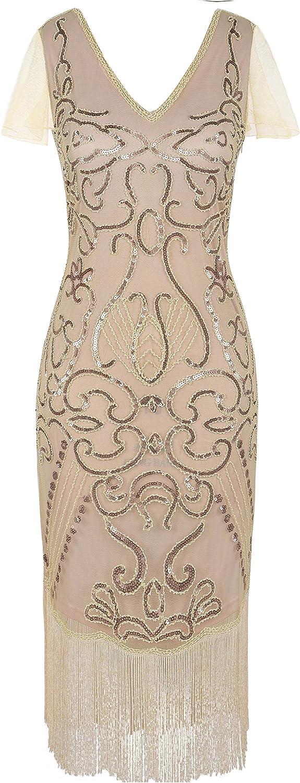 PrettyGuide Damen 1920er Flapper Kleid Pailletten Great Gatsby Cocktailkleider