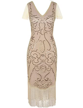 e4a9f38489bc6 PrettyGuide Women's 1920s Flapper Dress Sequin Cocktail Great Gatsby Dress  M Champagne Pink