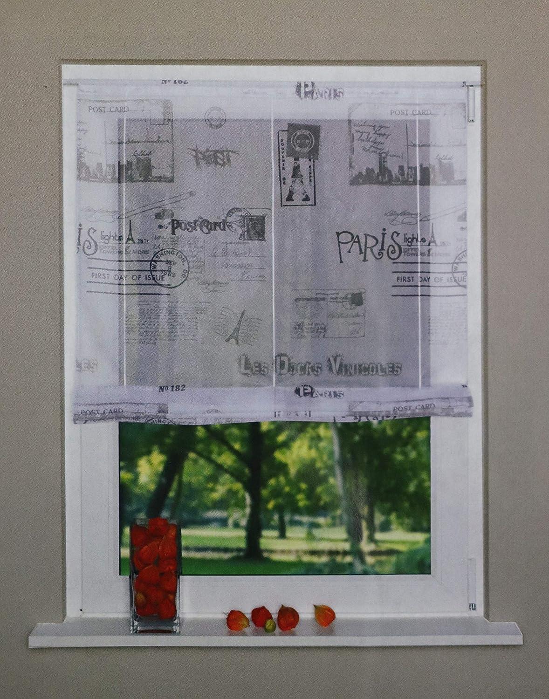 Raffrollo Raffgardine Bändchenrollo Türbehang Panneaux 80//140cm BxH weiß-schwarz