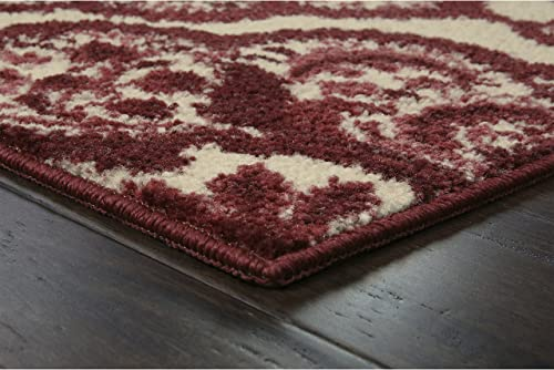 Maples Rugs Vivian Medallion Area Rugs for Living Room Bedroom Made in USA , 7 x 10, Garnet Red