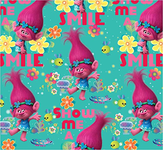 kids 65989A620715 woven cotton toss blue Dreamworks Trolls Packed Trolls Cotton Fabric from Springs Creative licensed fabric