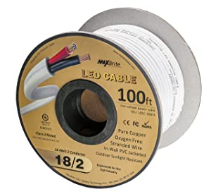 18AWG Low Voltage LED Cable, 2 Conductor, Outdoor Rated, Jacketed In-Wall Speaker Wire UL/cUL Class 2, Sunlight Resistant (100ft Reel)