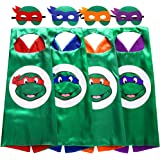 Zaleny Superhero Costumes Cartoon Dress up Costumes Satin Capes Felt Masks 4 Sets for Boys & Girls