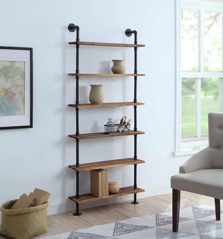 4D Concepts Anacortes SHELFS, Black Pipe Brown Shelves