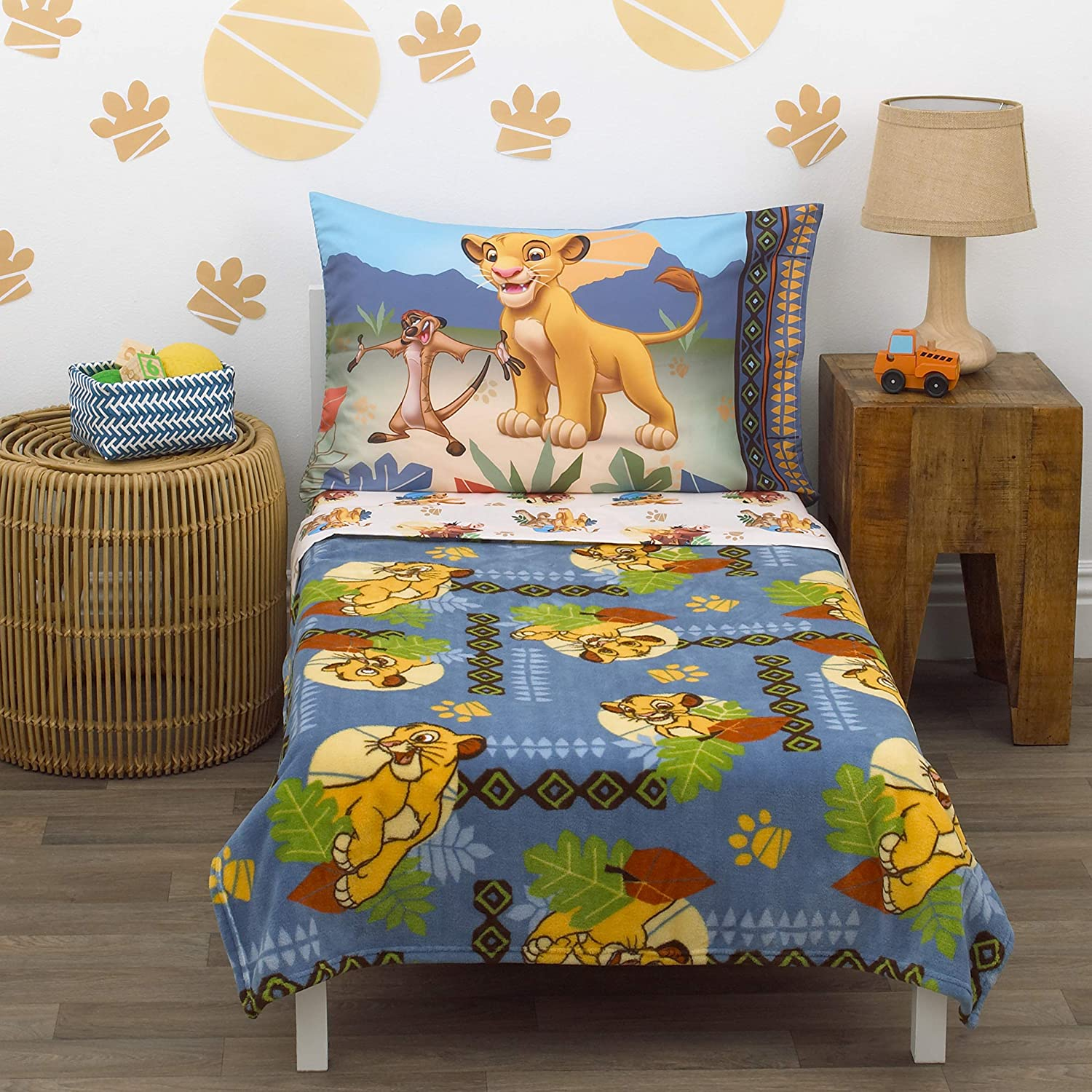 Disney Lion King - Totally Tribal - 4Piece Toddler Bed Set - Coral Fleece Toddler Blanket, Fitted Bottom Sheet, Flat Top Sheet, Standard Size Pillowcase, Blue, Green, Brown, Brown Gold