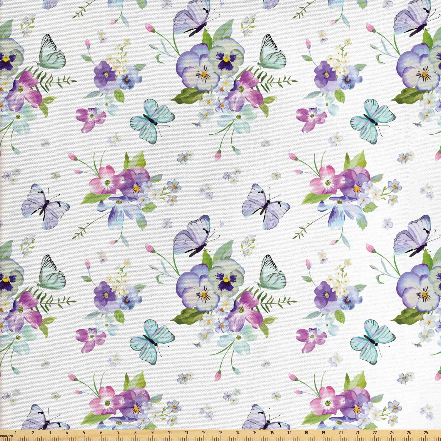 Lunarable Dogwood Flower Fabric by The Yard, Botanical Blooms with Spring Iris Peony Flying Butterflies Nature Theme, Decorative Fabric for Upholstery and Home Accents, 3 Yards, Lavender Purple by Lunarable