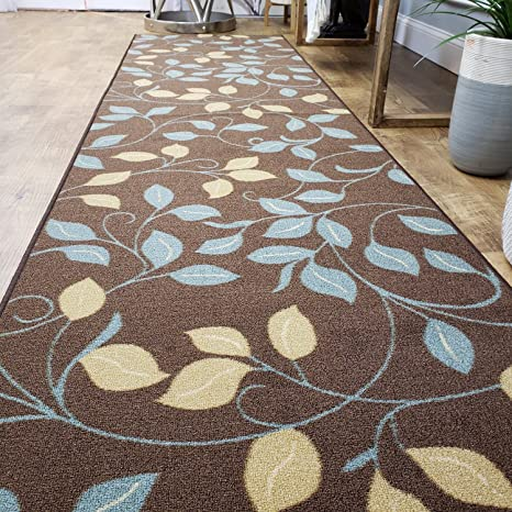 Runner Rug 2x5 Brown Floral Kitchen Rugs and mats | Rubber Backed Non Skid  Rug Living Room Bathroom Nursery Home Decor Under Door Entryway Floor Non  ...