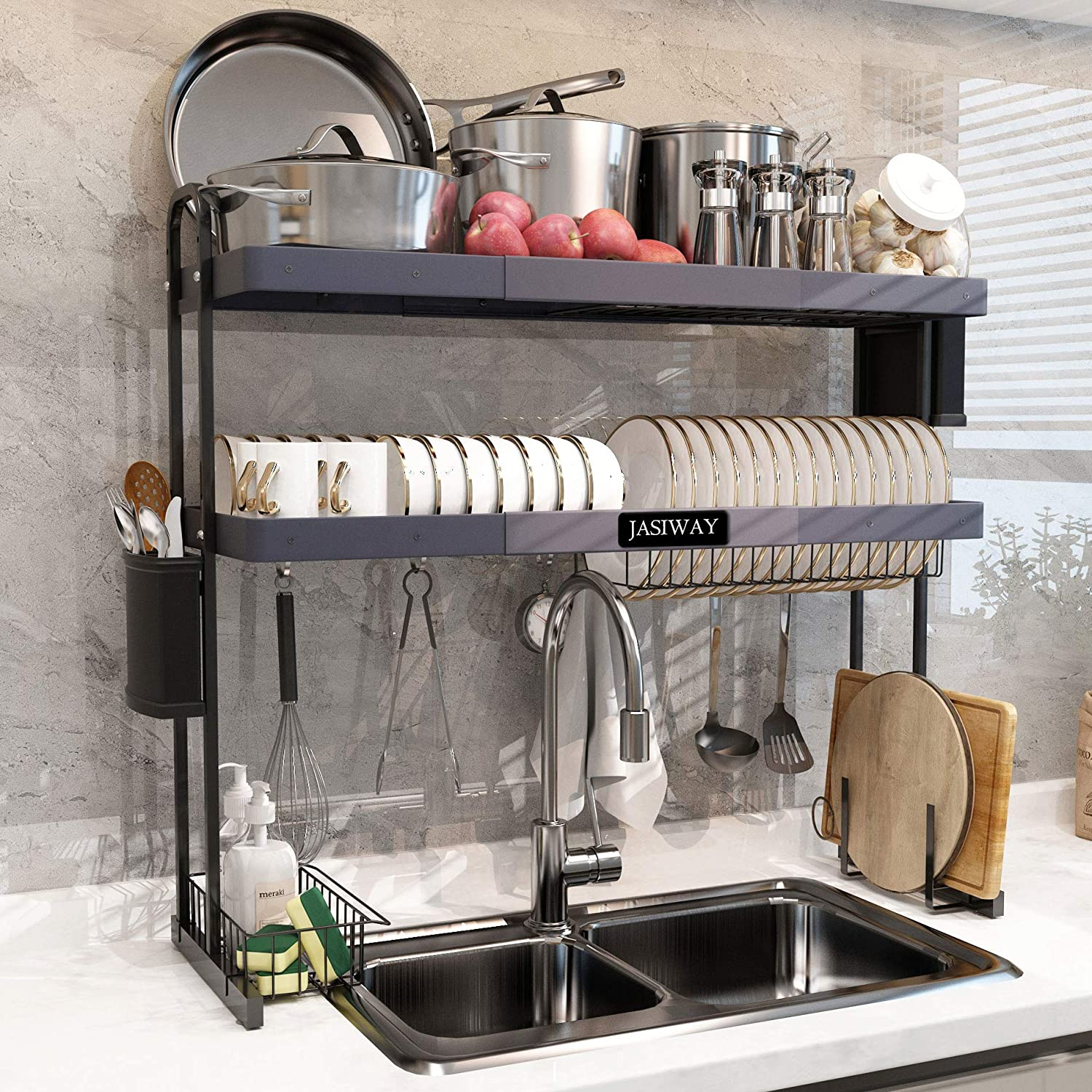 """Over Sink Dish Drying Rack, 2 Tier Stainless Steel Large Storage Adjustable Kitchen Dish Rack (27.5"""" - 33.5""""), Expandable Dish Drainer Shelf Rack with Utensil Holder and Drainboard Hooks"""