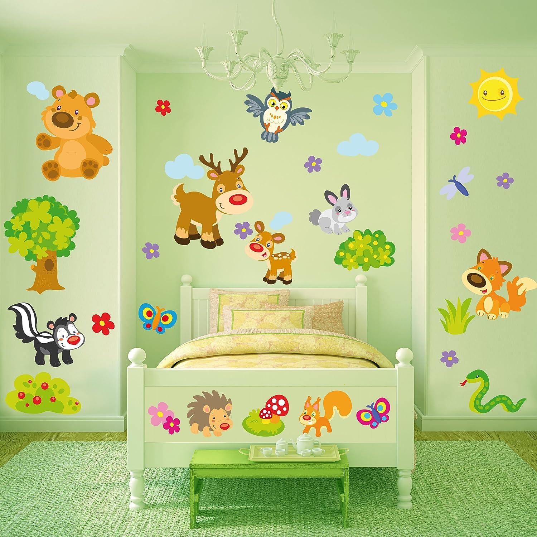Sticasa® - Gli Animali della Foresta stickers murali bambini. Set ...