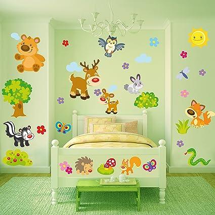 Sticasa® - Gli Animali della Foresta stickers murali bambini. Set di ...