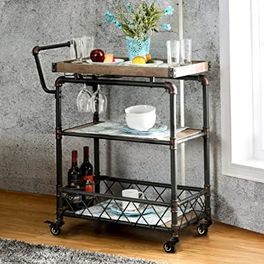 Qianniu Rustic Bar Serving Cart with Wheels, Heavy-Duty Vintage Metal Industrial Style 3-Tier Serving Wine Tea Dining Kitchen Cart with Bottle Holder and Tray Top