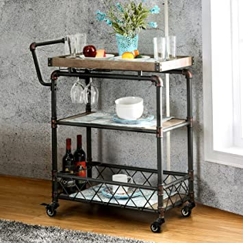 Qianniu Rustic Bar Serving Cart with Wheels, Heavy-Duty Vintage Metal Industrial Style 3