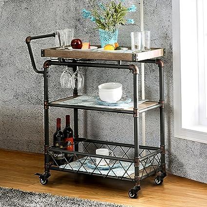 Vintage Bar Cart >> Amazon Com Qianniu Rustic Bar Serving Cart With Wheels Heavy Duty