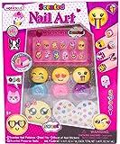 Hot Focus Scented Nail Art Kit- Emoji Girls Nail Kit Includes 12 Press on Nails, 3 Nail Polishes, 31 Nail Stickers and a Nail File – Non-Toxic Water Based Peel Off Nail Polish