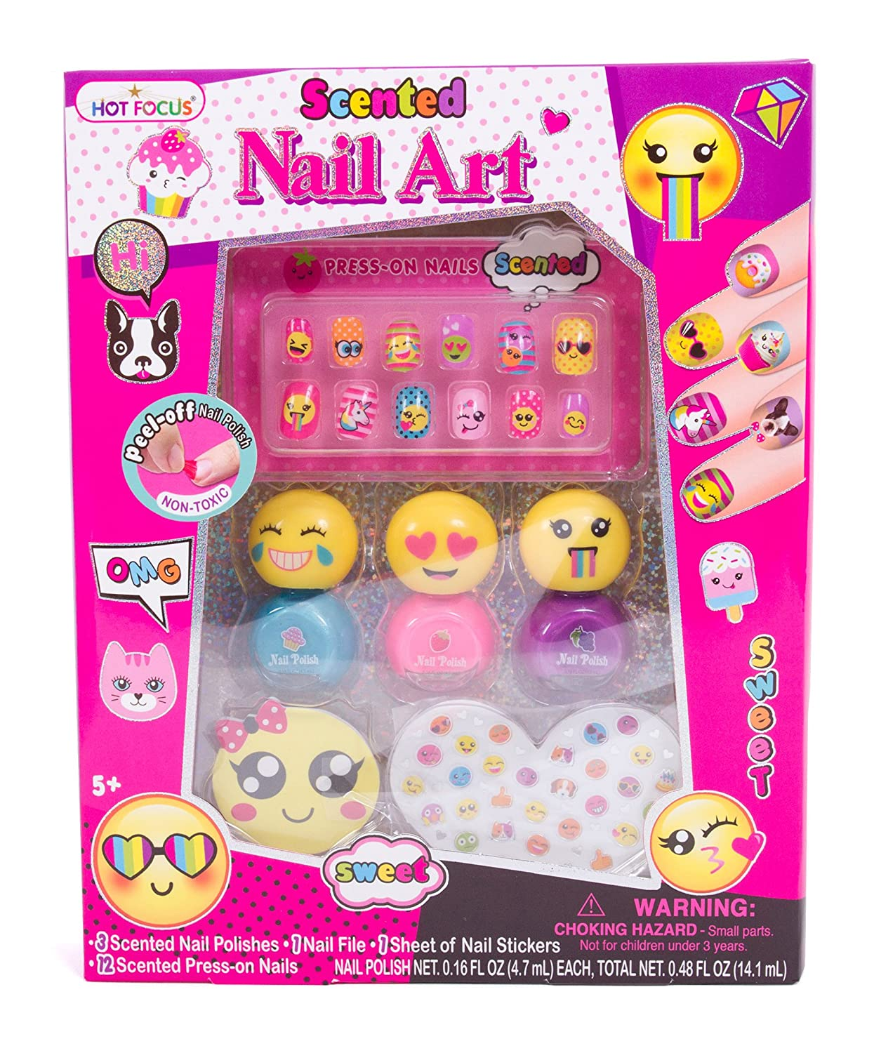 Amazon.com: Hot Focus Scented Nail Art Kit- Emoji Girls Nail Kit ...