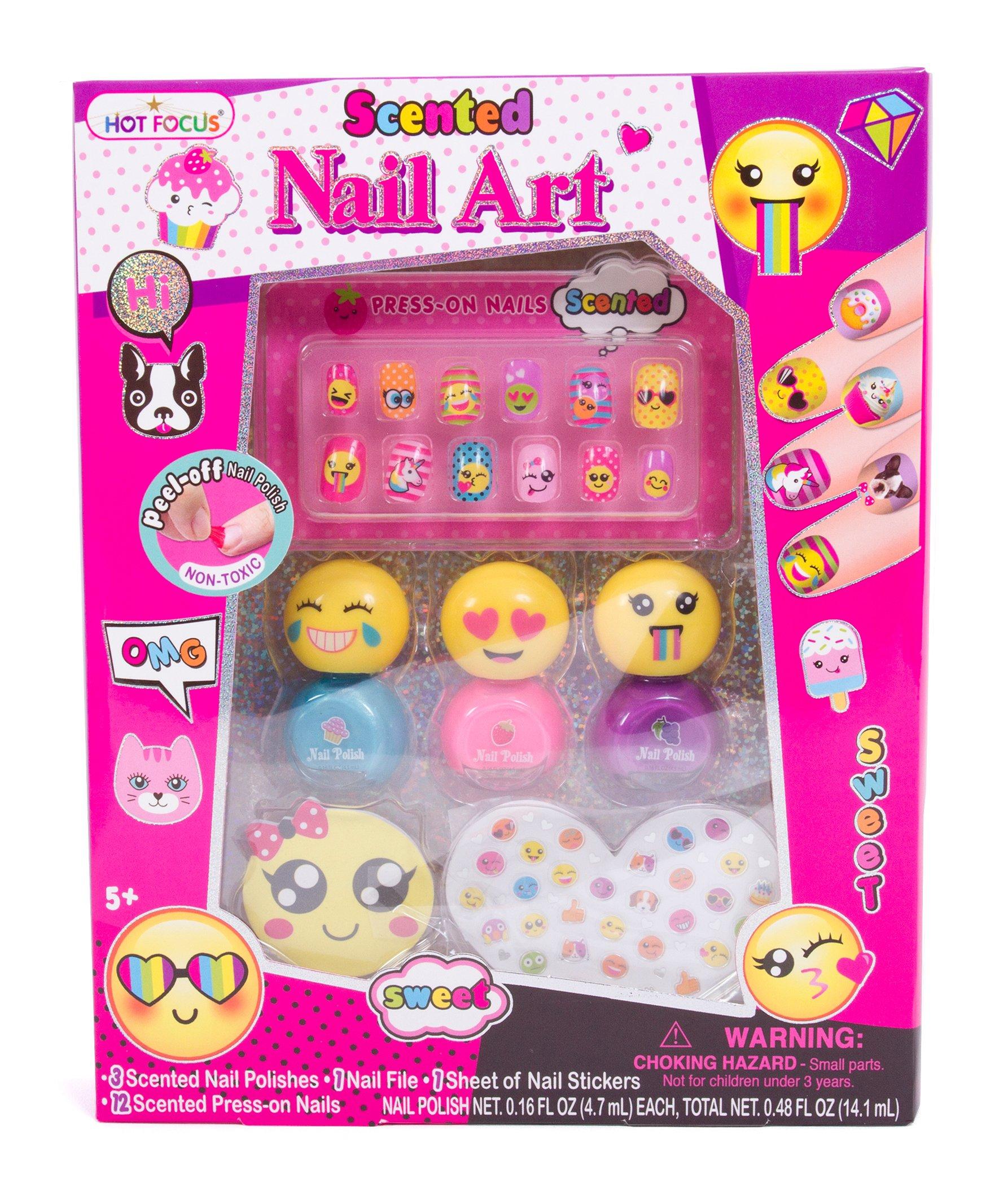 Hot Focus Scented Nail Art Kit- Emoji Girls Nail Kit Includes 12 Press on Nails, 3 Nail Polishes, 31 Nail Stickers and a Nail File - Non-Toxic Water Based Peel Off Nail Polish by Hot Focus