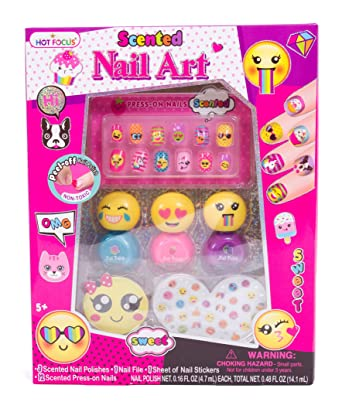 Amazon hot focus scented nail art kit emoji girls nail kit hot focus scented nail art kit emoji girls nail kit includes 12 press on nails prinsesfo Images