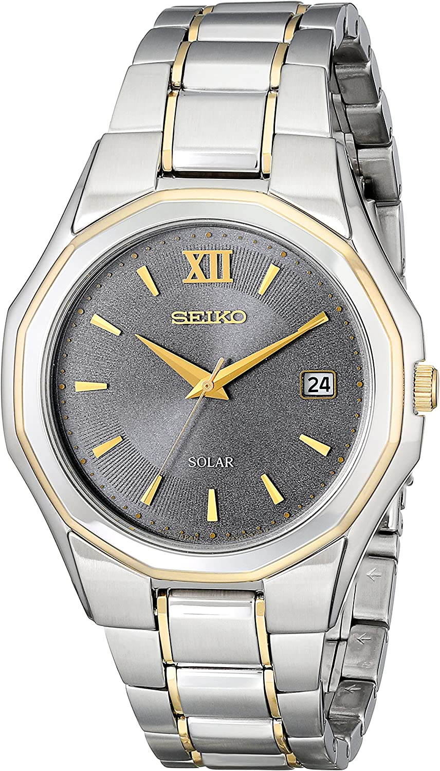 Seiko Men s SNE166 Classic Solar-Powered Two-Tone Stainless Steel Watch with Link Bracelet