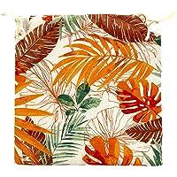 TIENDA EURASIA® Pack de 4 Cojines para Sillas - Estampado Plantas Tropical - 2 Cintas de…