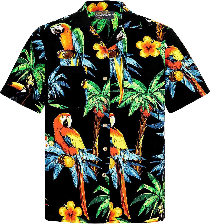 DAY8 Chemise Hawa/ïenne Homme Manche Courte Grande Taille Chemises a Fleurs Homme Coton Revers Hauts Homme Chic Pas Cher Hawaii Mode Imprim/é /Ét/é Casual Plage