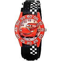 Disney Kids' W001679 Cars Plastic Watch, Black Checkered Nylon Band