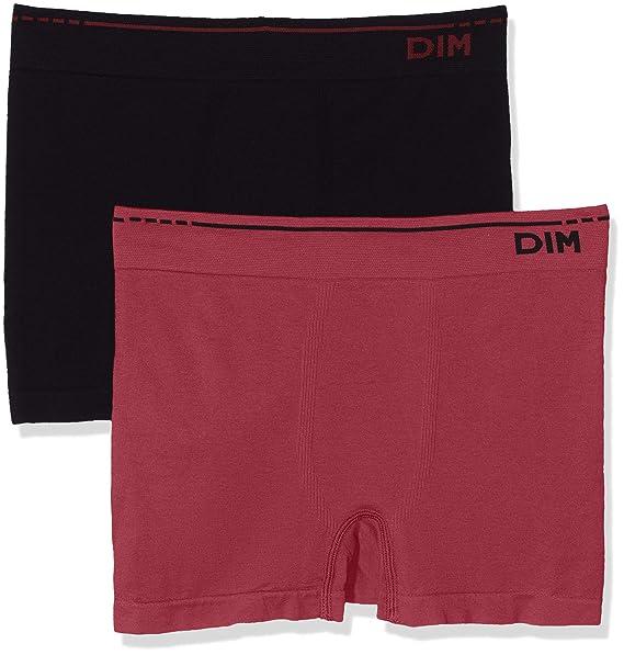 Unno DIM Basic Algodón sin Costuras Pack x2, Boxer para Hombre (Rojo Grenat/