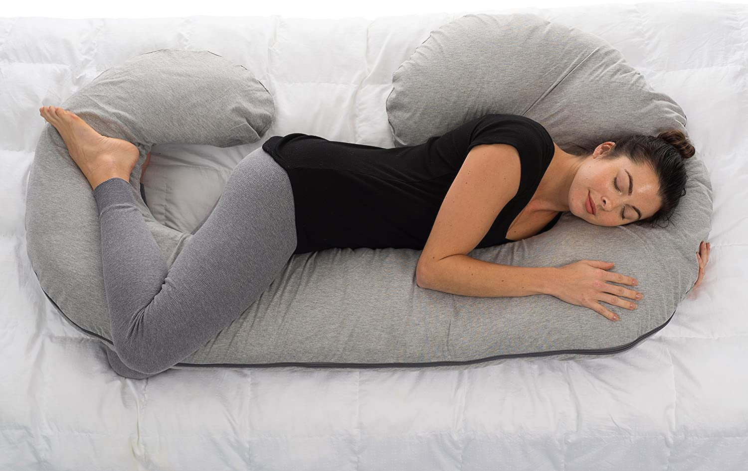 ComfySure Pregnancy Pillow Case - Replacement White Protective Cover for Full Body Cushions - Machine Washable - Ultra Soft Polyester Microfiber