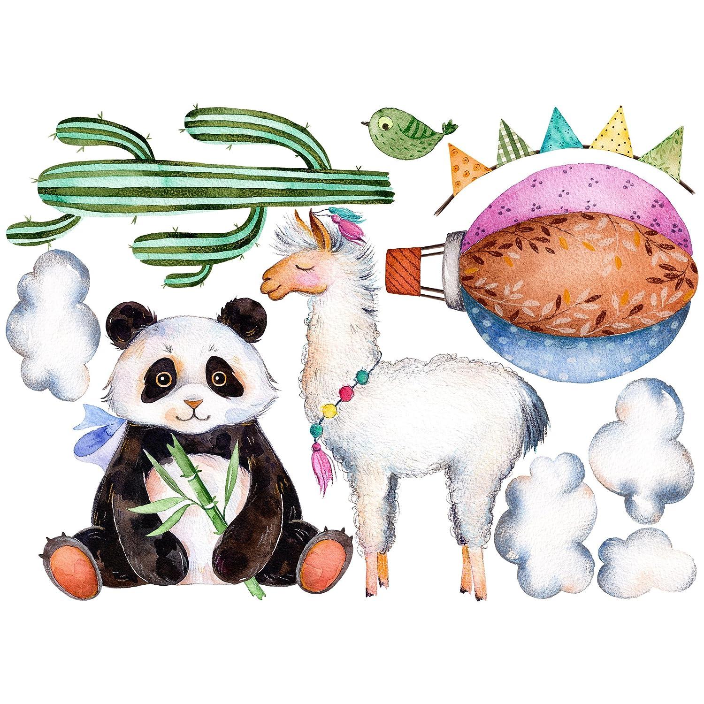 Bilderwelten Wandtattoo Panda und Lama Aquarell Set Wandtattoo Wandsticker Kinderzimmer Bär Illustration, Größe: 101cm x 140cm