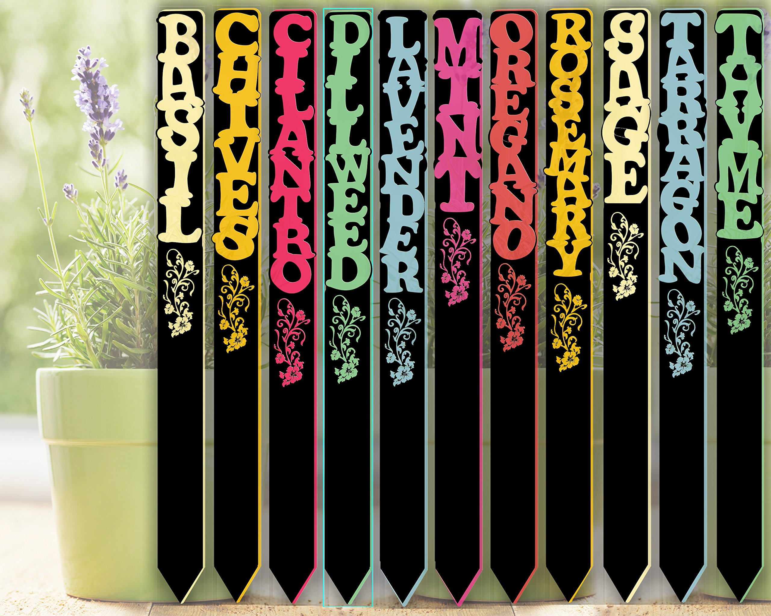 Red Tail Crafters Herb Garden Stakes Vertical Text 08in 12/set Colorful Acrylic Plant Markers