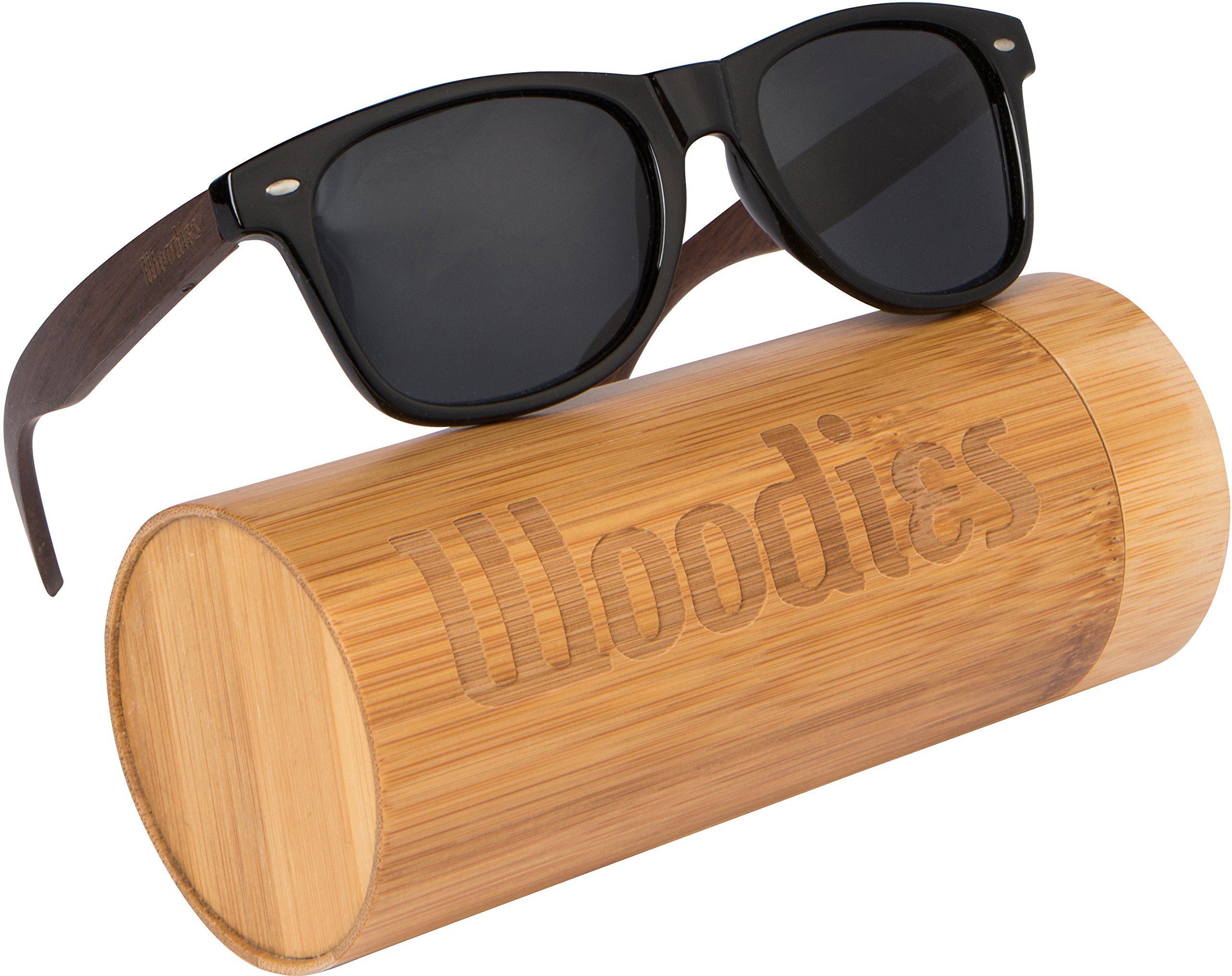 WOODIES Walnut Wood Wayfarer Sunglasses with Polarized Lens in Bamboo Tube Packaging by Woodies