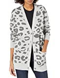 Daily Ritual Amazon Brand Women's Ultra-Soft Leopard Jacquard Cardigan Sweater