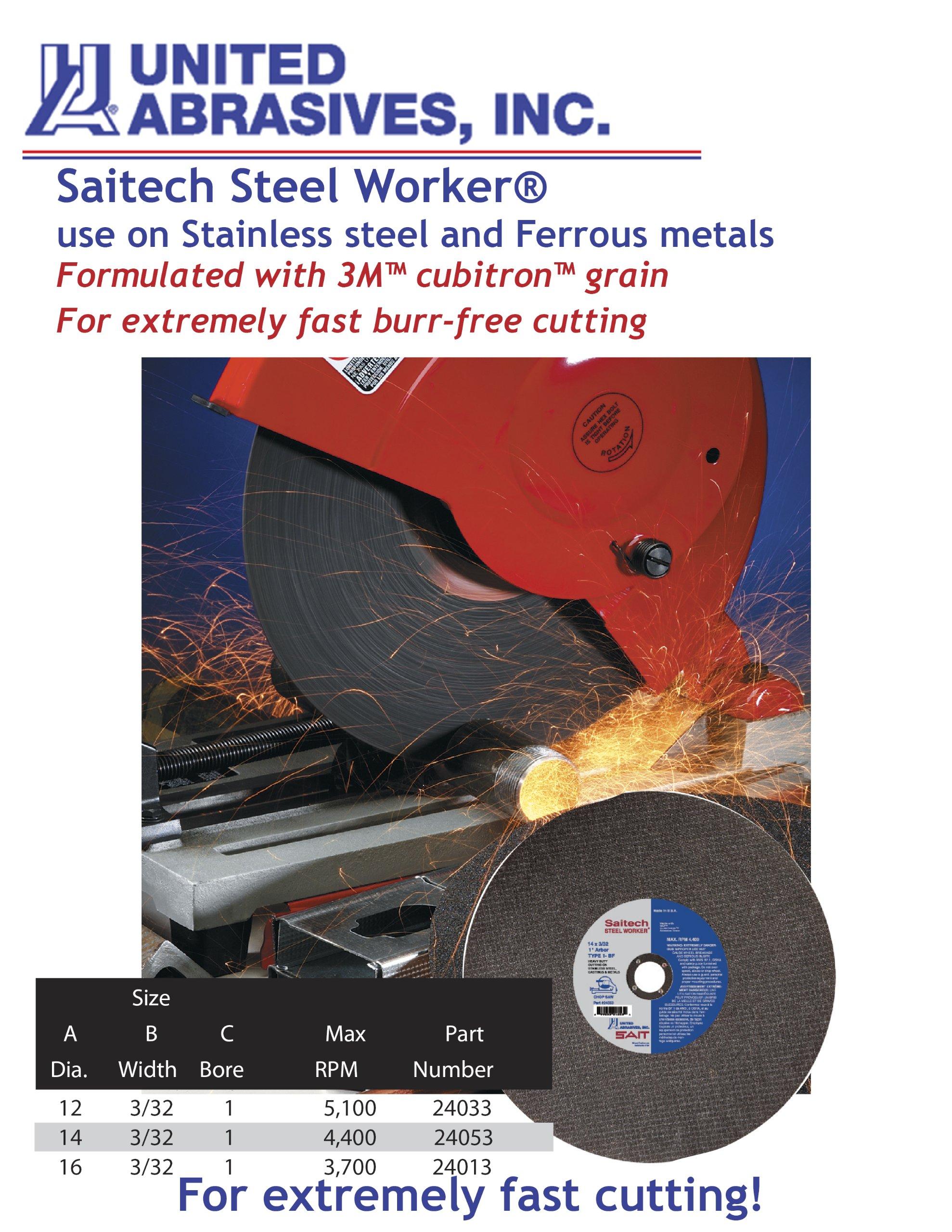 United Abrasives SAIT 24053 Type 1 14-Inch x 3/32-Inch x 1-Inch Saitech Steel Worker Chop Saw Blade, 10-Pack