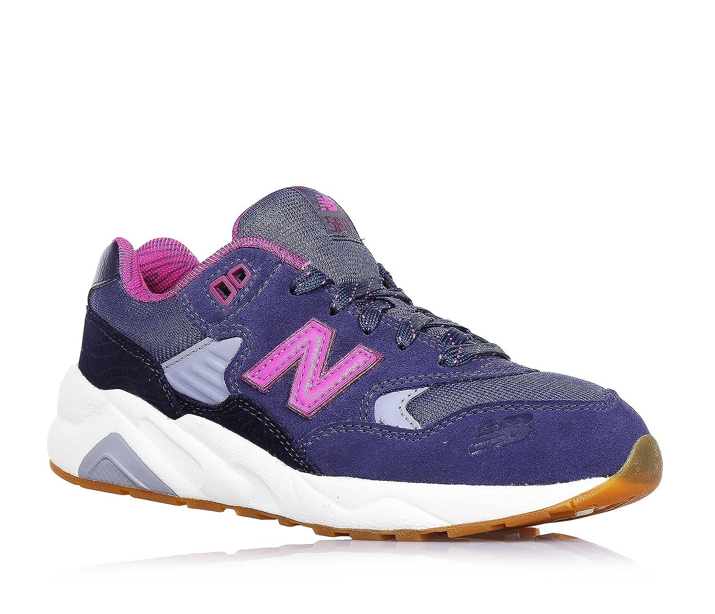 NEW BALANCE - Chaussure de sport violette et fuchsia à lacets, en suède et tissu, avec logo latéral et à l'arrière, coutures visibles et semelle en caoutchouc, fille, filles, femme, fe