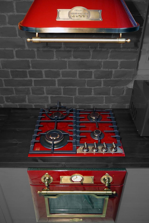 Nouveauté Lot de Kaiser Empire Bordeaux Rouge/électriques Four encastré 67L Classe d'efficacité énergétique: A + Verre gaz Cuisson en Céramique 60cm + Hotte murale 60cm 910M³/H Classe d'efficacité énergétique: D/Luxe fabricant Kaiser/8fnkt. Air Chaud