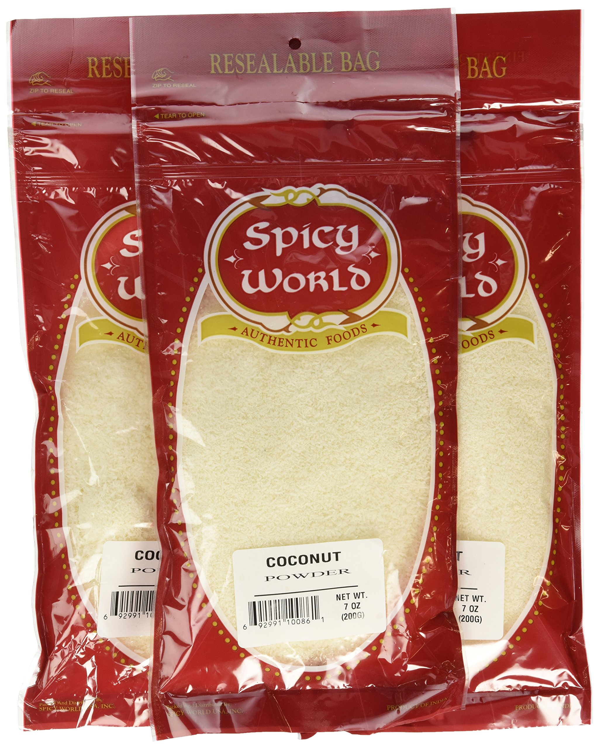 Spicy World Unsweeted Coconut Powder , 7-Ounce Pouches (Pack of 24)