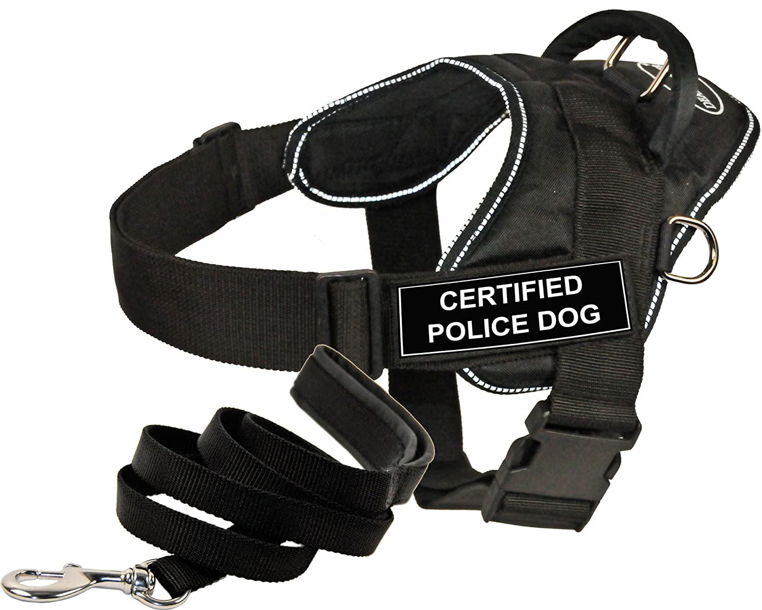 Dean and Tyler Bundle One DT Fun Works  Harness, Certified Police Dog, Reflective, XSmall + One Padded Puppy  Leash, 6 FT Stainless Snap Black