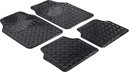 Walser Gummimatten Universal Automatte Metallic Fußmatten Komplettset Riffelblech Schutzmatte Carbon Zuschneidbare Schmutzfangmatte 28023 Auto