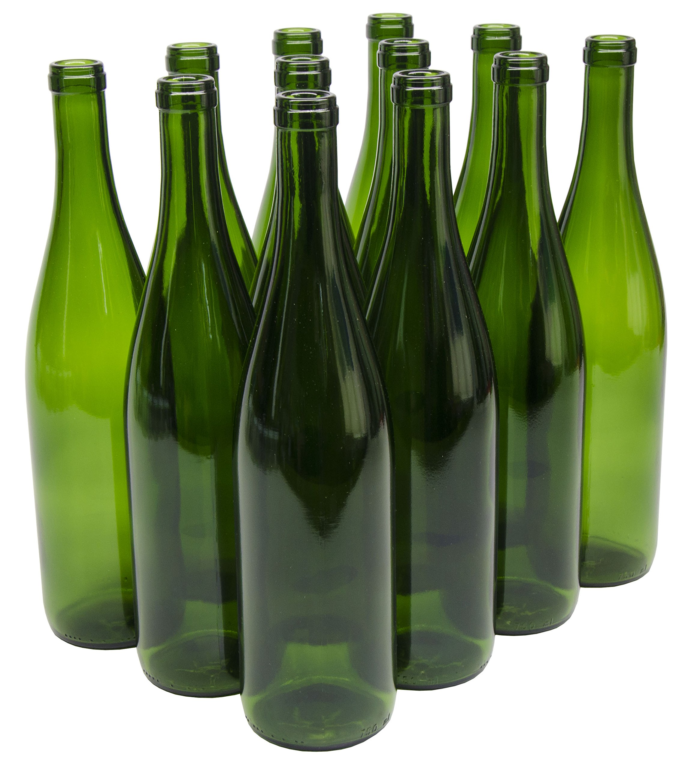 North Mountain Supply 750ml Glass California Hock Wine Bottle Flat-Bottomed Cork Finish - Case of 12 - Champagne Green