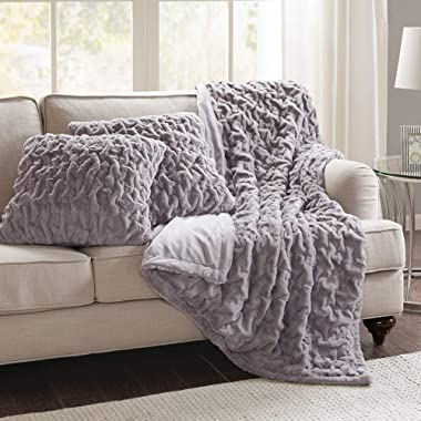 Comfort Spaces Faux Fur Throw Set-Fluffy Plush Blankets for Couch and Bed-Lavender Size 50  x 60  with 2 Square Pillow Covers 20  x 20 , 50 x60 ,