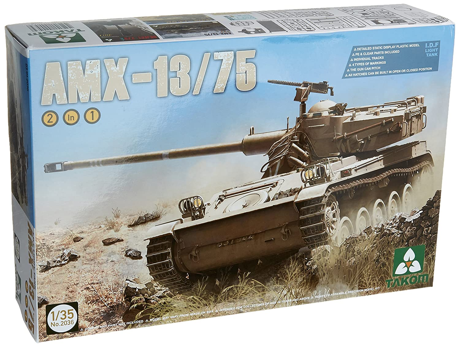 TAKOM TAK-2036 - Modellbausatz IDF Light Tank AMX-13/75 2 in 1
