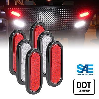"4 Red + 2 White 6\"" Oval LED Trailer Tail Light Kit [DOT FMVSS 108] [24 LED] [Grommets & Plugs] [IP67 Waterproof] [Stop Brake Turn Reverse] Back Up Trailer Lights for Marine Boat Trailer RV Truck: Automotive [5Bkhe0815222]"