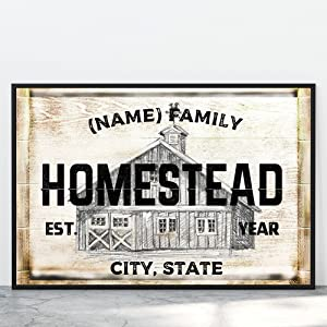 Personalized Farmhouse Family Name Poster Wall Decor Customized Vintage Housewarming Canvas Wall Art Decor for Living Room Unique Custom Framed Farmhouse Bedroom Decoration with Names (17x11 Poster)