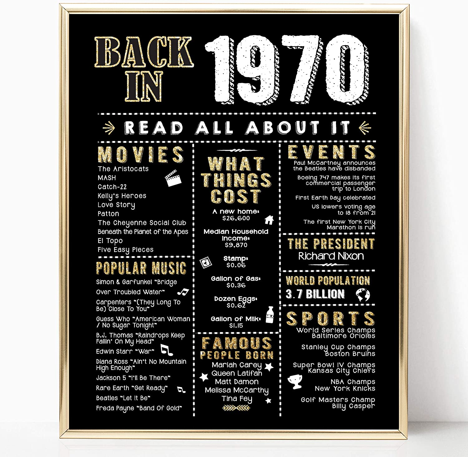 Katie Doodle 50th Birthday Decorations Gifts For Women Or Men Includes 8x10 Back In 1969 Sign Unframed Bd050 Black Gold Amazon Ca Home Kitchen