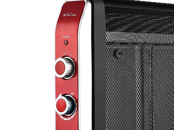 Calefactor Radiador Eléctrico Bajo Consumo con Panel de Mica hasta 2000 W Color Negro con Ruedas y Termostato: Amazon.es: Hogar