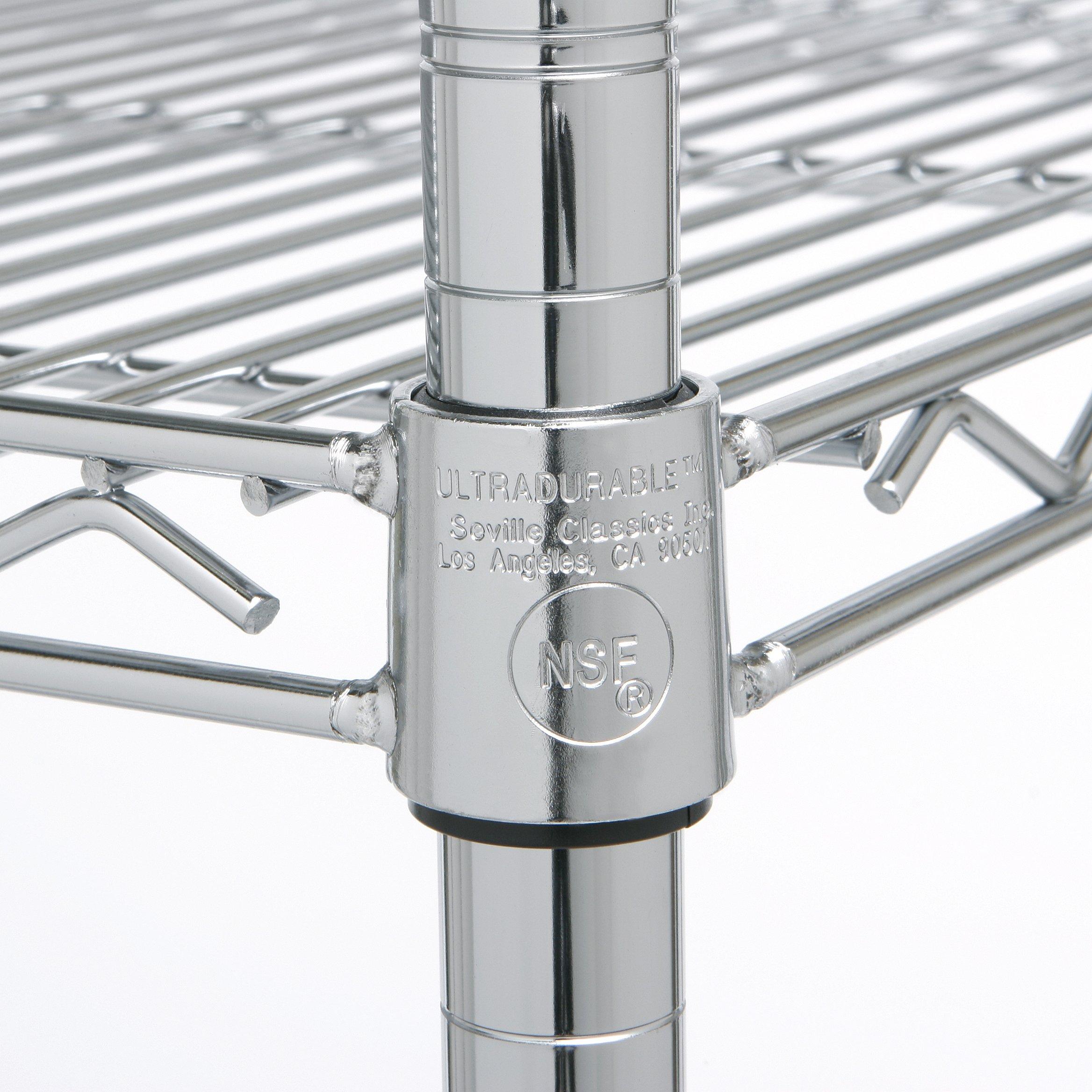 Seville Classics 4-Tier UltraZinc NSF Steel Wire Shelving, 18'' D x 36'' W x 72'' H